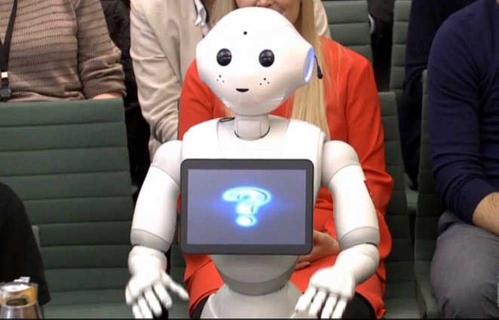 A video grab from footage broadcast by the UK parliament's Parliamentary Recording Unit (PRU) shows a robot called Pepper attending an Education Select Committee hearing in London on Tuesday. — AFP