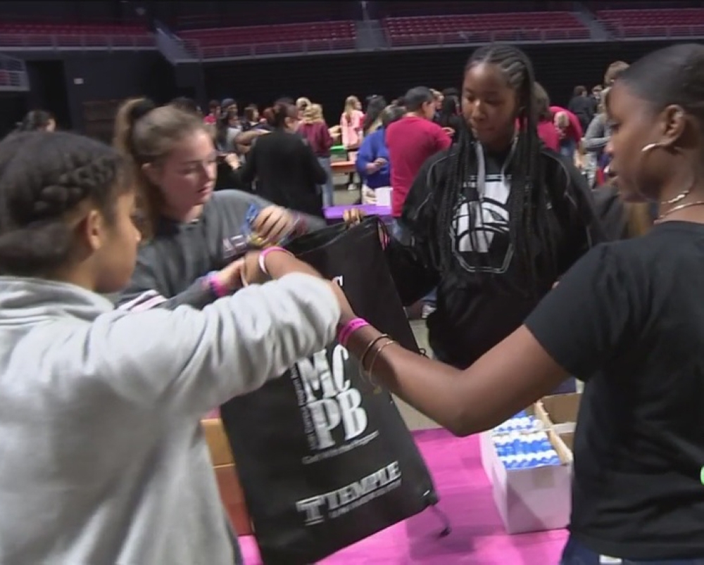Temple University students gathered on Monday night and filled the backpacks with school supplies.