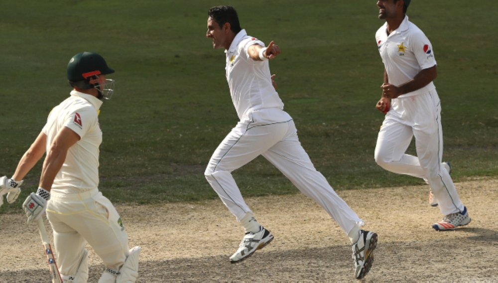Medium pacer Mohammad Abbas celebrates an Australian wicket during their second cricket Test match in Abu Dhabi Wednesday. — AFP