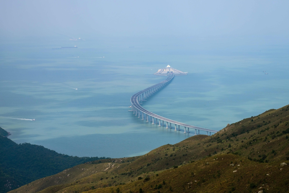 A section of the Hong Kong-Zhuhai-Macau Bridge (HKZMB) is seen from Lantau island in Hong Kong in this Oct. 7, 2018 file photo. — AFP