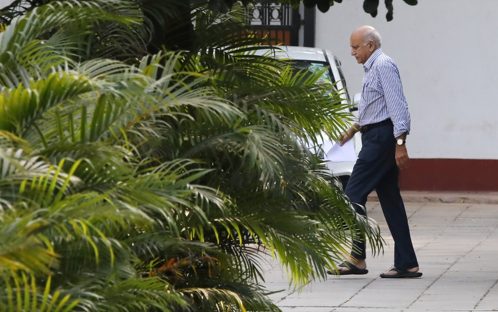 Former Minister of State for External Affairs M.J. Akbar walks inside his residence in New Delhi in this Oct. 14, 2018 file photo. — Reuters
