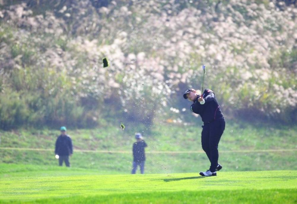 Ariya Jutanugarn of Thailand seen in action during the first round in the inaugural Buick LPGA Shanghai tournament.