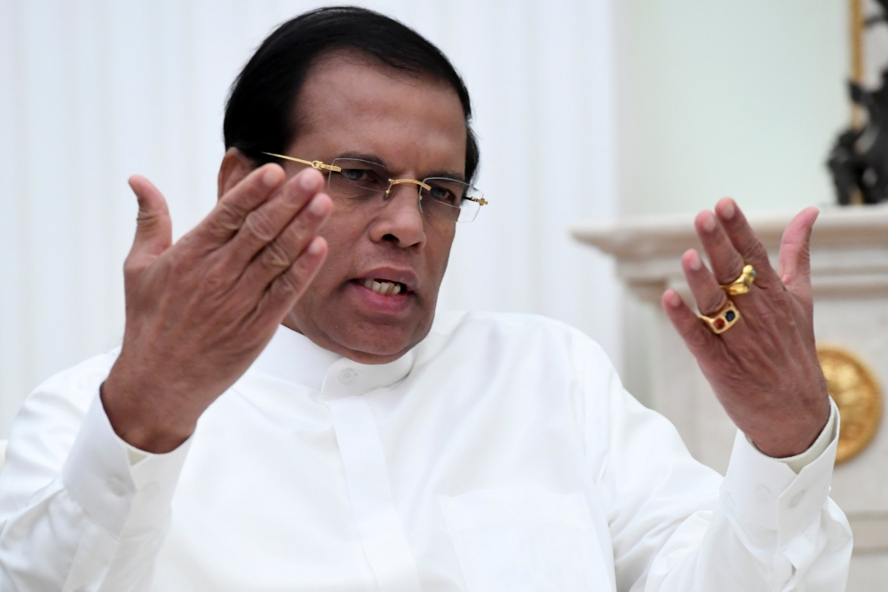Sri Lankan President Maithripala Sirisena gestures as he speaks during a meeting with his Russian counterpart Vladimir Putin at the Kremlin in Moscow, Russia, in this March 23, 2017 file photo. — Reuters