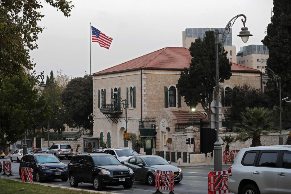 A picture taken on Thursday shows the US consulate in Jerusalem. — AFP