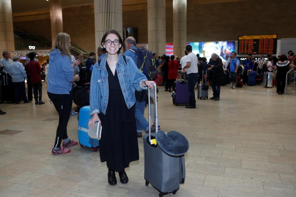 US student Lara Alqasem walks at the Ben Gurion international airport terminal in Lod, near Tel Aviv, Israel, on Thursday. — Reuters
