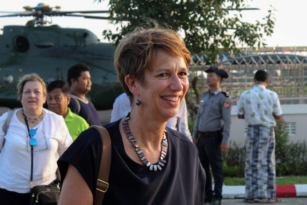 UN Special Envoy for Myanmar Christine Schraner Burgener arrives at Sittwe airport after visiting Maung Daw Township at the Bangladesh-Myanmar border area in Rakhine State in this Oct. 15, 2018 file photo. — AFP
