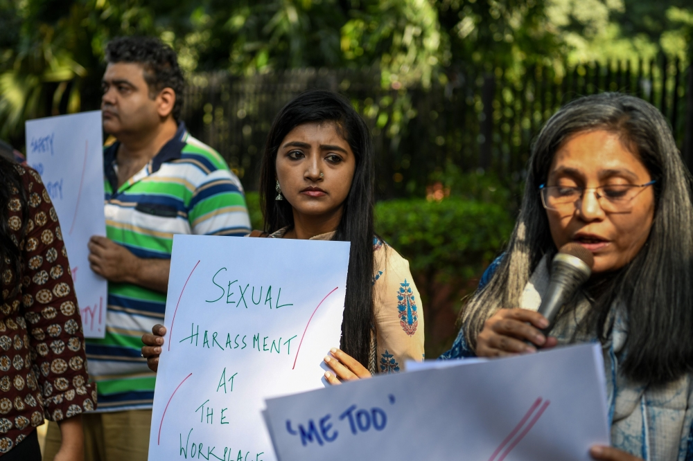 Indian journalists hold placards at a protest against sexual harassment in the media industry in New Delhi in this Oct. 13, 2018 file photo. — AFP