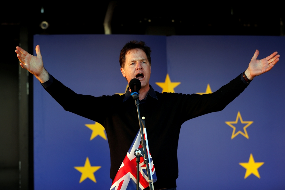 Former Liberal Democrat leader Nick Clegg speaks at a Unite for Europe rally in central London in this March 25, 2017 file photo. — Reuters