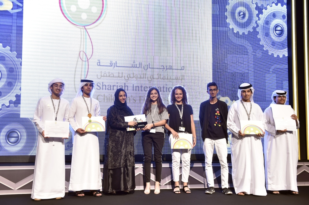 Winners at the sixth edition of the Sharjah International Children's Film Festival on Friday. — Courtesy photo