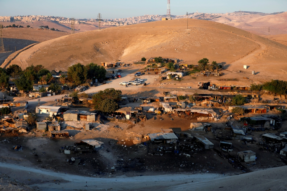 A general view shows the main part of the Palestinian Bedouin village of Khan Al-Ahmar in the occupied West Bank. — Reuters