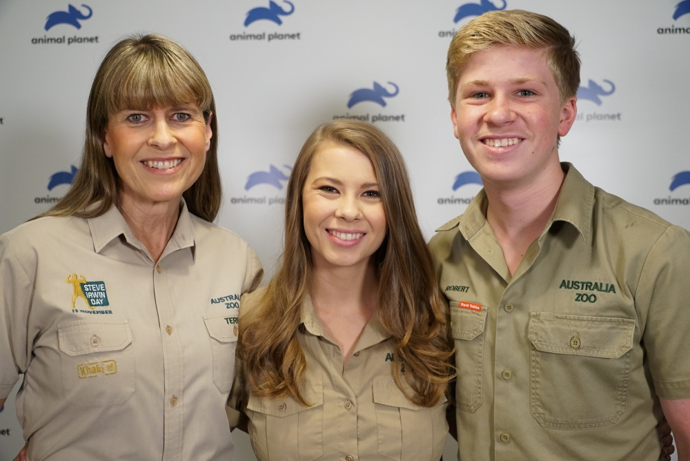 Terri, wife of the late Steve Irwin, her daughter Bindi and son Robert, pose together at the launch of their new family show on the Animal Planet television channel in London, Britain. — Reuters