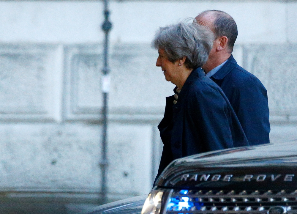 Britain's Prime Minister Theresa May arrives at Downing Street in London, Britain, on Monday. — Reuters