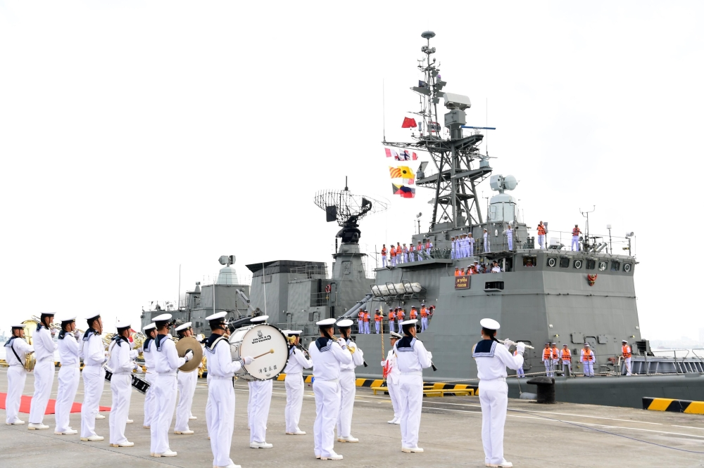 A Thailand navy ship arrives at a military port in Zhanjiang, in China's southern Guangdong province, on Sunday. — AFP