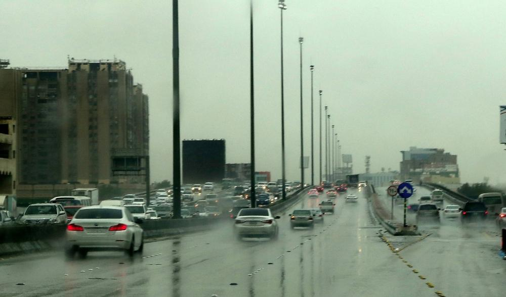 Heavy rain inundated streets in the low-lying areas of old Dammam and Al-Khobar on Monday.