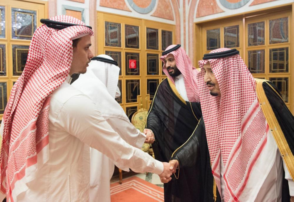 Custodian of the Two Holy Mosques King Salman received at the Al-Yamamah Palace in Riyadh on Tuesday Jamal Khashoggi's brother Sahl Ahmed Khashoggi and son Salah Jamal Khashoggi in the presence of Crown Prince Muhammad Bin Salman, deputy premier and minister of defense. The King and the Crown Prince expressed their deepest condolences to the family and relatives of the late Jamal Khashoggi. — SPA