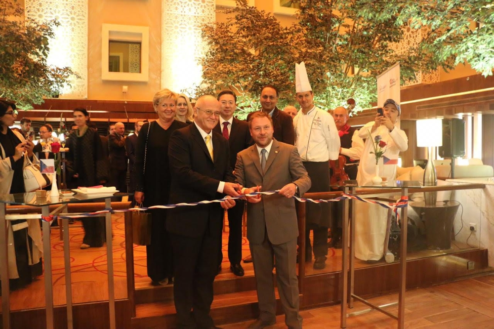 Ceremonial cutting of the ribbon to mark the start of  The Czech Food Festival