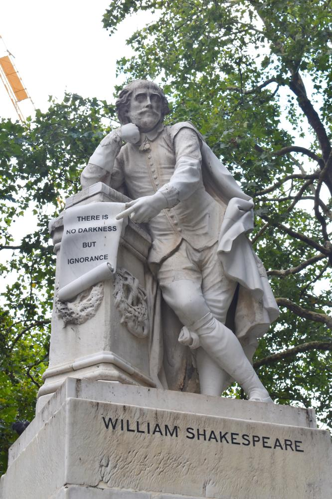 A statue for William Shakespeare in London.