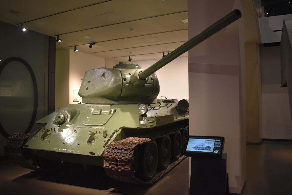 The T-34/85 tank, displayed inside the Imperial War Museum in London.