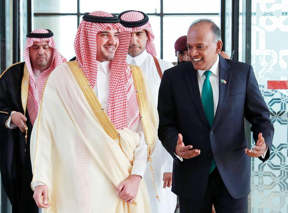 File photo shows Minister of Interior Prince Abdulaziz Bin Saud Bin Naif with Singaporean Minister of Home Affairs and Minister of Law K. Shanmugam during the latter's visit to the Kingdom in November last year.
