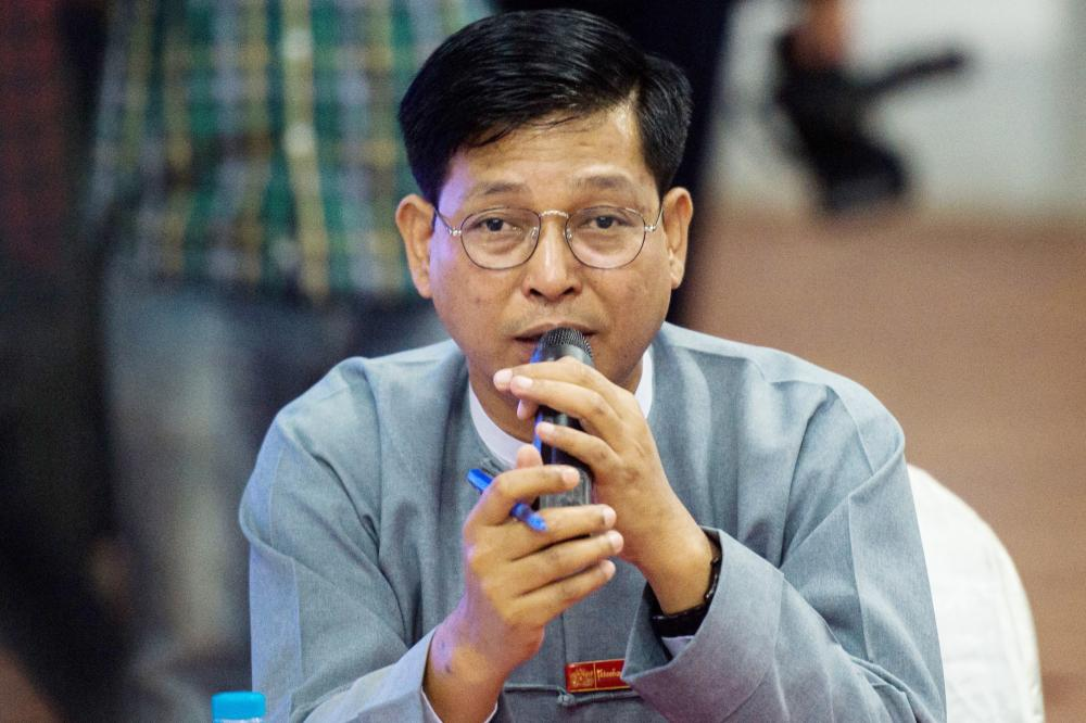 Myanmar government spokesman Zaw Htay speaks during a press conference in Yangon on Sunday. — AFP