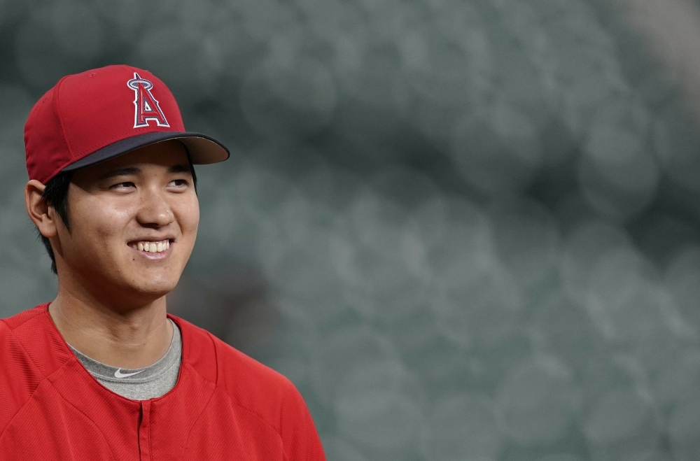 Los Angeles Angels pitching and hitting star Shohei Ohtani, seen in this file photo, was named Major League Baseball's Rookie of the Year on Monday.
