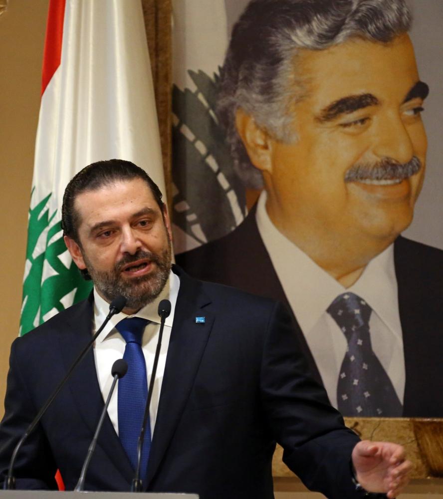 Lebanese Prime Minister-designate Saad Al-Hariri speaks during a news conference in Beirut, Lebanon, Tuesday. — Reuters