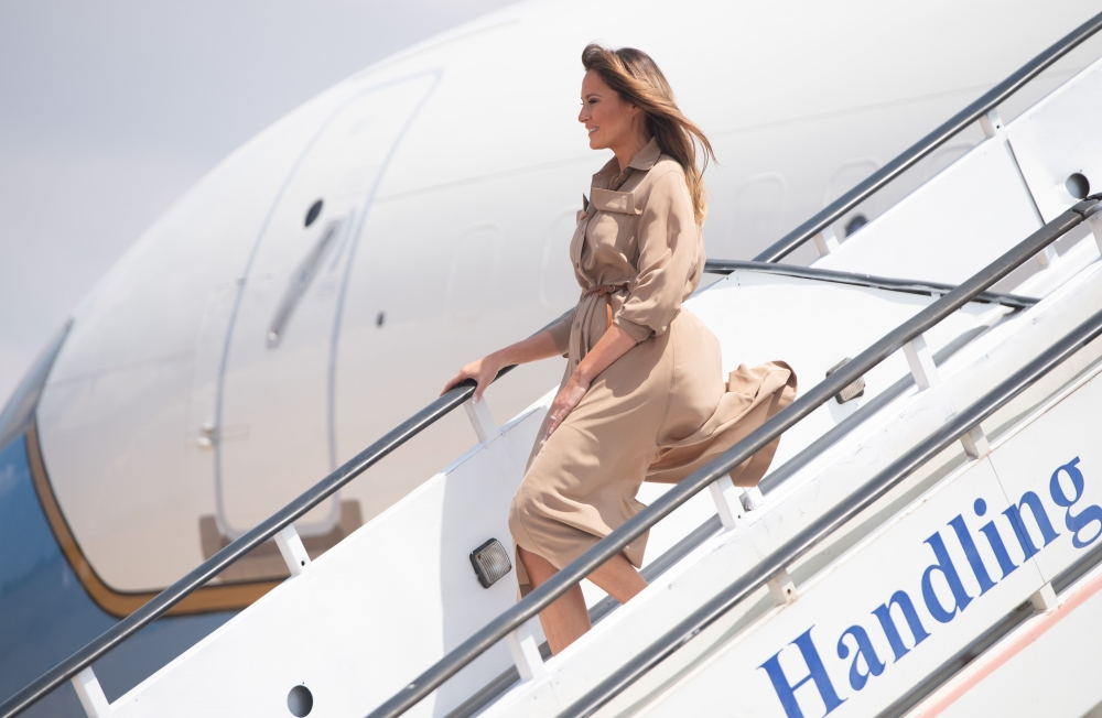 US First Lady Melania Trump disembarks from her military airplane upon arrival at Lilongwe International Airport on Oct. 4, 2018 for a 1-day visit in Malawi, part of her week long trip to Africa to promote her Be Best campaign. — AFP