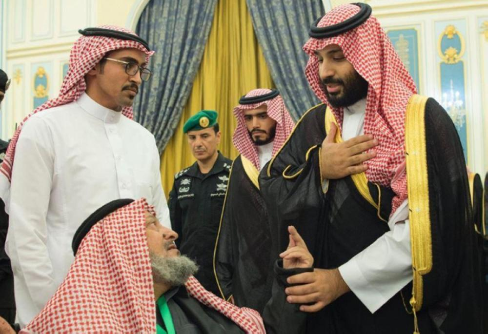 Crown Prince Muhammad Bin Salman, deputy premier and minister of defense, meets family members of servicemen killed in the line of duty during a meeting in Riyadh on Tuesday evening. — SPA