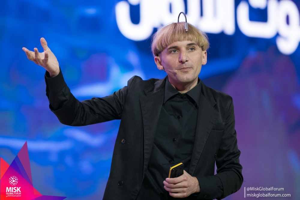 Neil Harbisson is a cyborg artist, who has created an app to allow people to hear the sound of colors. Harbisson's built-in antenna has been mistaken for everything from a hands-free telephone and a GoPro camera to a Google Street View lens! — SG