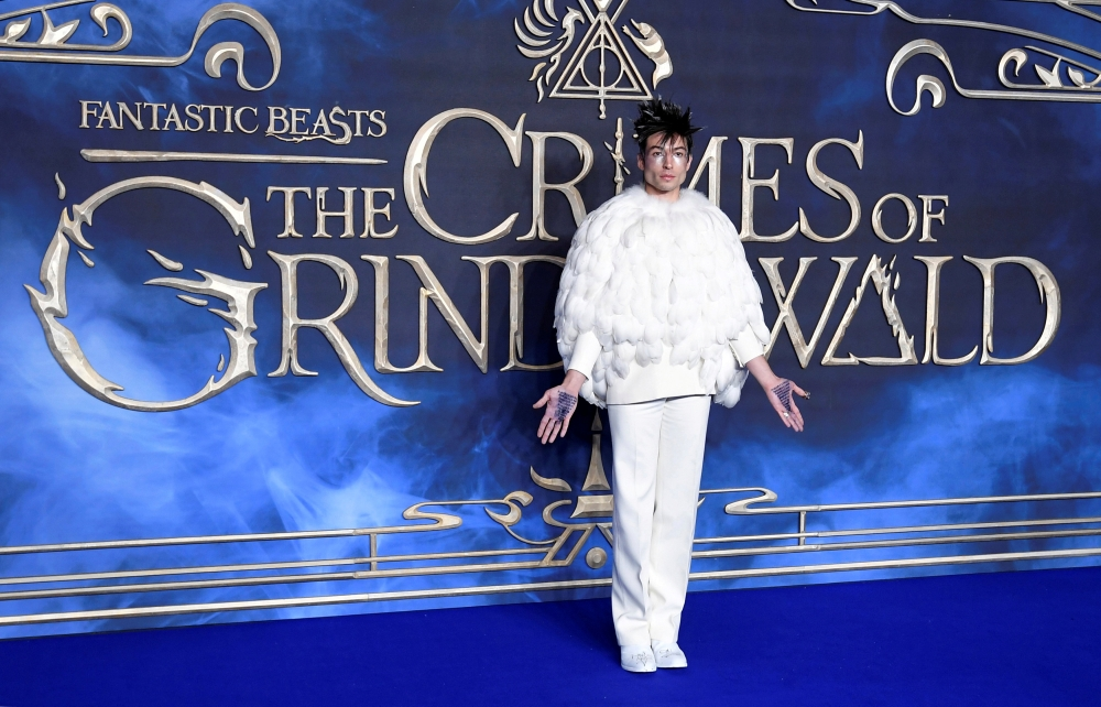Actor Ezra Miller attends the British premiere of 'Fantastic Beasts: The Crimes of Grindelwald' movie in London. — Reuters