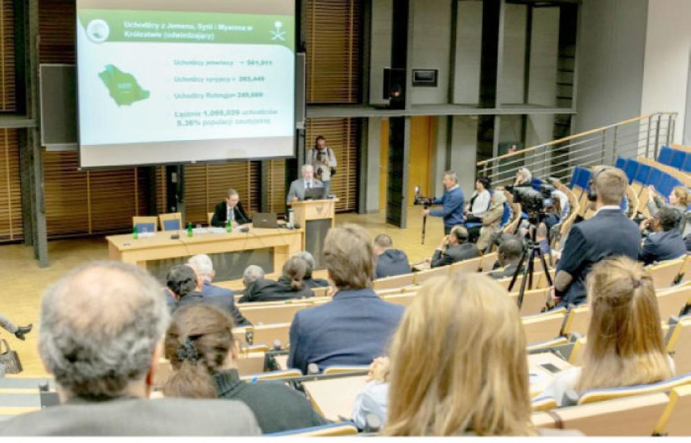 Adviser at the Royal Court and Supervisor General of the King Salman Center for Relief and Humanitarian Aid (KSrelief) Dr. Abdullah Al-Rabiah addressing a symposium at Warsaw University, Poland, on Friday. — SPA
