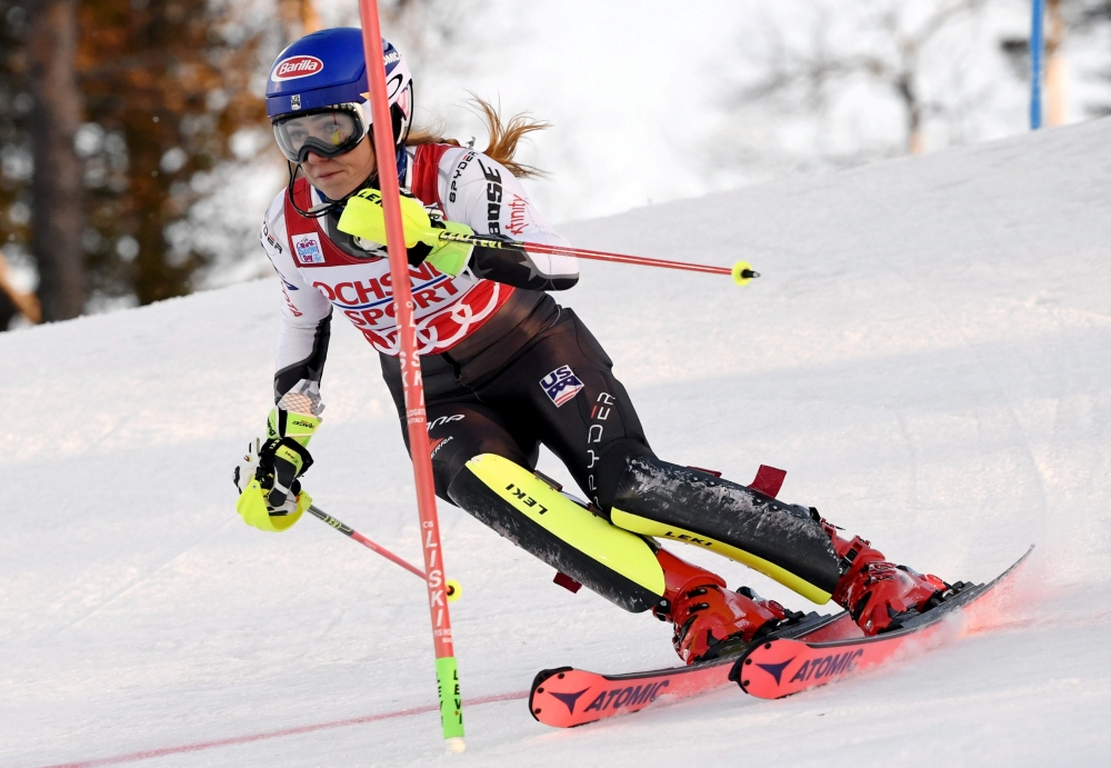 The winner Mikaela Shiffrin of the US in action during the FIS Alpine Ski World Cup Ladies' Slalom at Levi, Kittila, Finland on Saturday. — Reuters