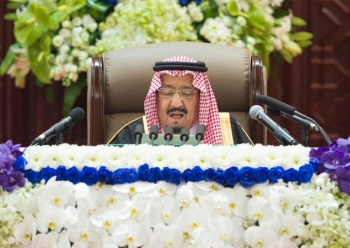 Custodian of the Two Holy Mosques King Salman addresses the Shoura Council during the inauguration of the 3rd year of its 7th session in Riyadh on Monday. — SPA
