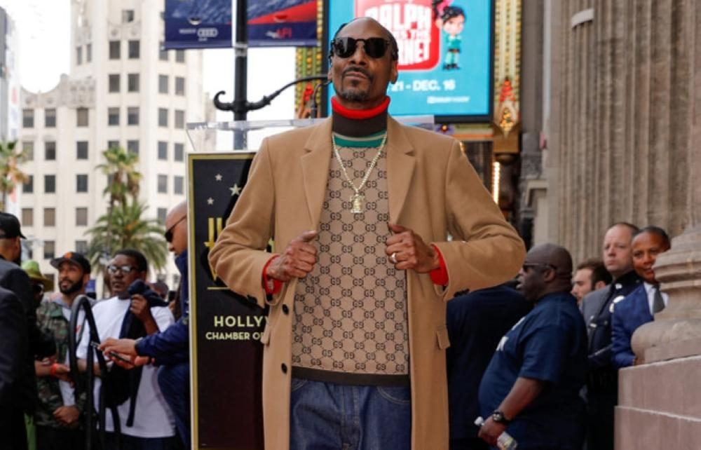 Rapper Snoop Dogg receives his star on the 'Hollywood Walk of Fame' in Los Angeles, California. — Reuters