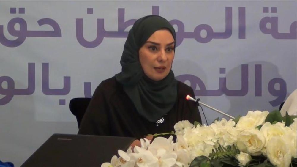 Fawzia Zainal speaks to her constituents from her district of the Southern Goveronate 5th in East Riffa.