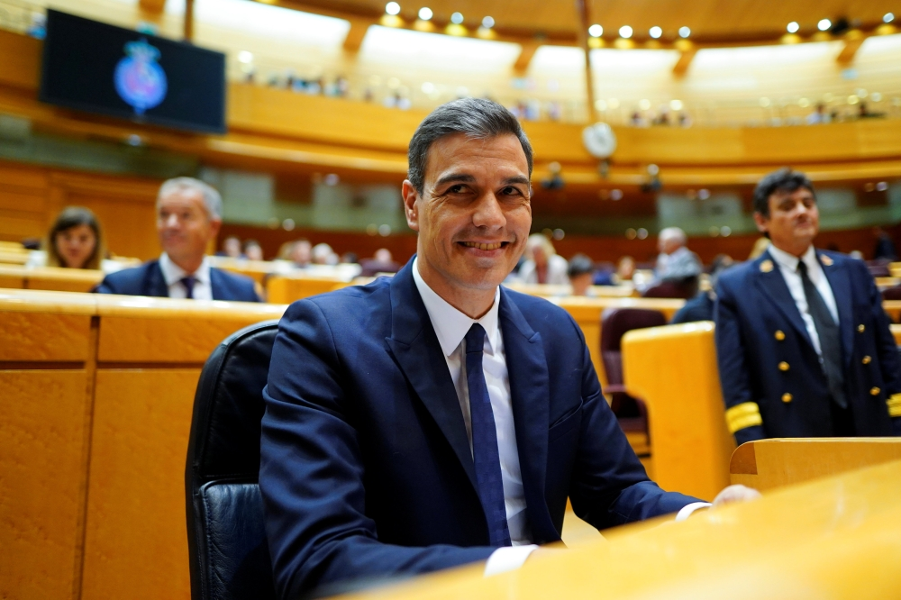 Spain's Prime Minister Pedro Sanchez attends a Senate session in Madrid on Tuesday. — Reuters
