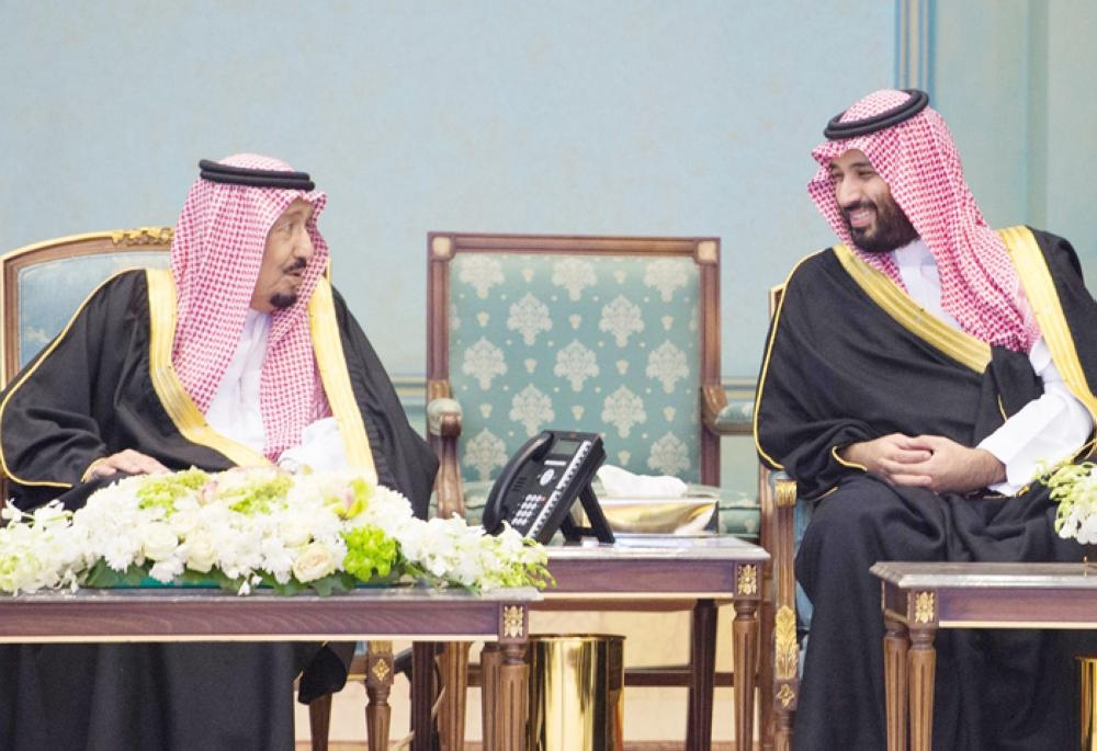 Custodian of the Two Holy Mosques King Salman launches and lays the foundation stone for development projects in Tabuk region on Tuesday. Crown Prince Muhammad Bin Salman, deputy premier and minister of defense, attends the ceremony. — SPA