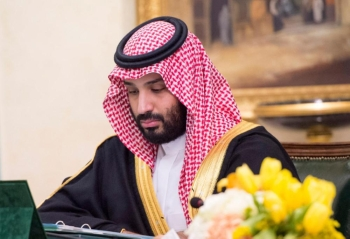 Crown Prince Muhammad Bin Salman, deputy premier and minister of defense, attending the Council of Ministers' session in Tabuk on Tuesday. — SPA