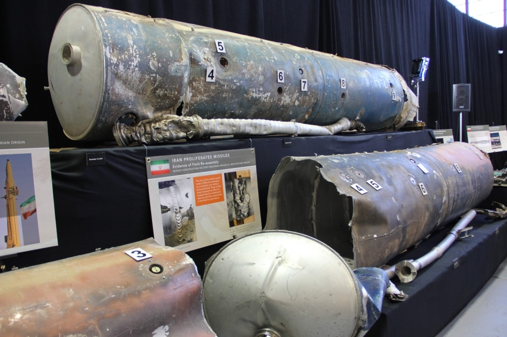 The US military displays what it says are Iranian weapons, at Joint Base Anacostia-Bolling in Washington, DC, on Thursday. Senior US officials presented what the Pentagon called