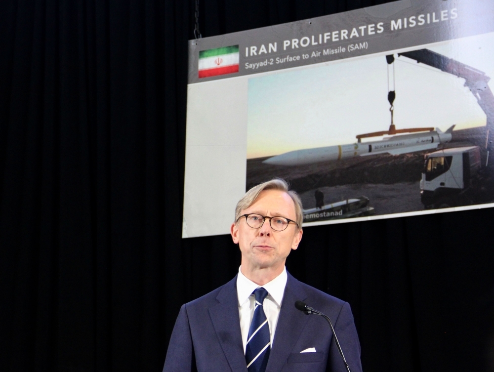 Brian Hook, the US Special Representative for Iran, speaks to reporters at Joint Base Anacostia-Bolling in Washington, DC, on Thursday. Senior US officials presented what the Pentagon called