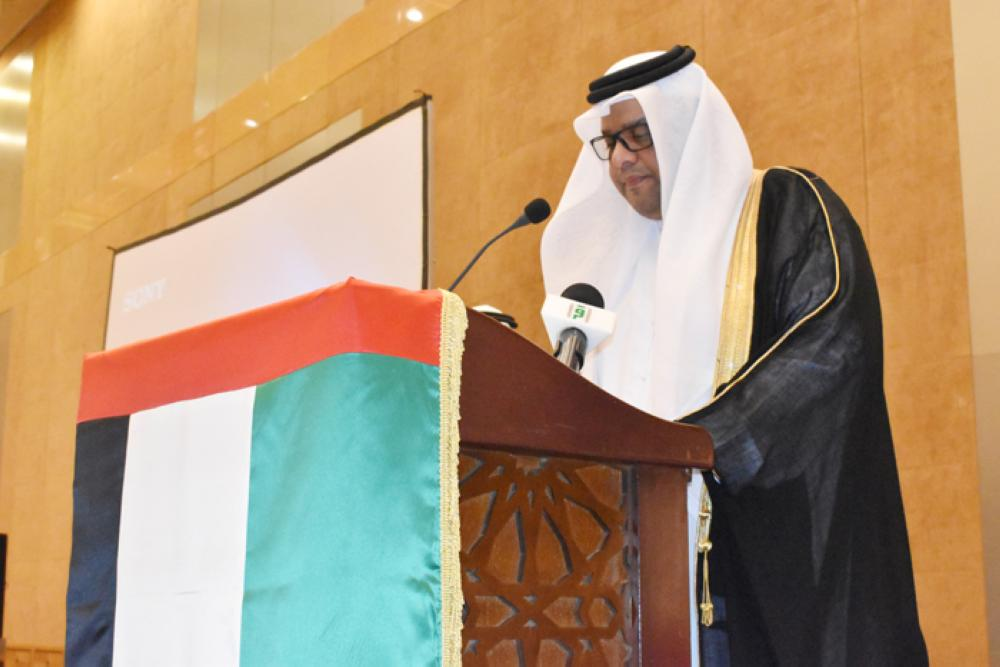 The Consul General of the UAE speaking during the event. — SG Photos by Abdulaziz Hammad.