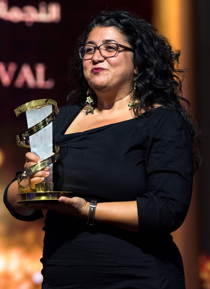 Austrian film director Sudabeh Mortezai, awarded Etoile D'or during the closing ceremony of the 17th Marrakech International Film Festival in Morocco. — AFP