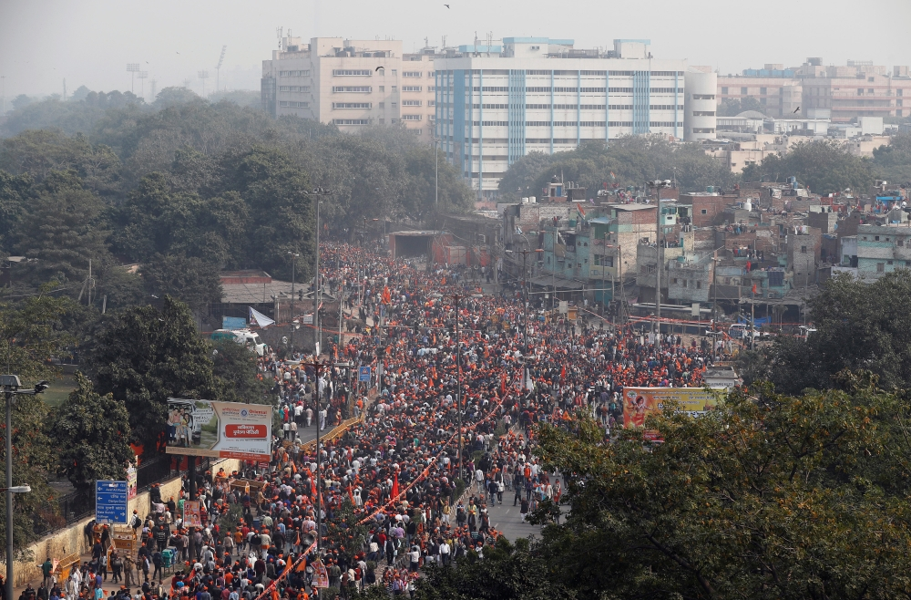 Supporters of the Vishva Hindu Parishad (VHP), a Hindu militant organization, attend