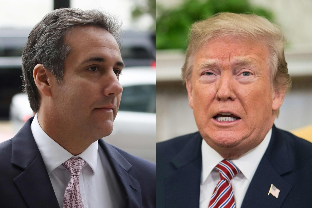 This combination of pictures Michael Cohen, left, and US President Donald Trump. — AFP