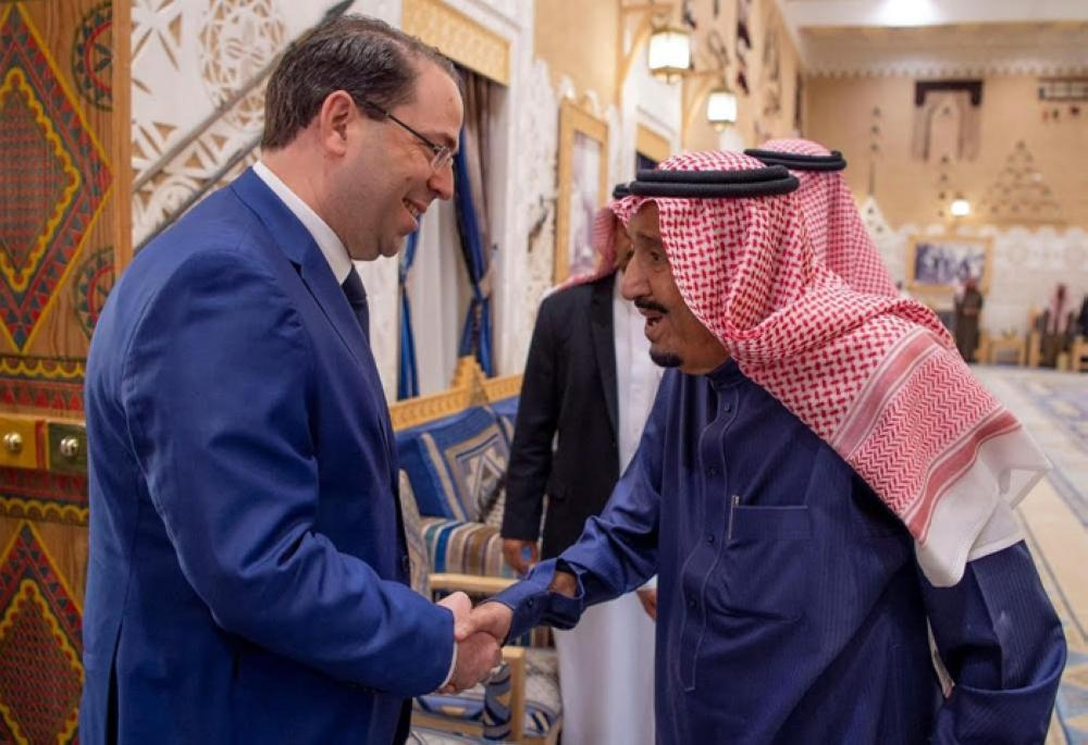 Custodian of the Two Holy Mosques King Salman receives Tunisian Prime Minister Youssef Chahed in Diriyah, Riyadh on Thursday.  — SPA