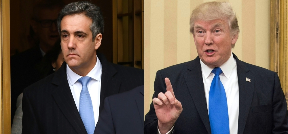 This combination of photos shows US President Donald Trump's former attorney Michael Cohen, left, and US President Donald Trump . — AFP