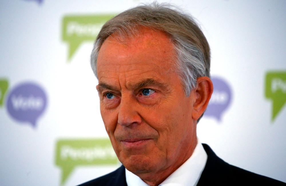 Former British Prime Minister Tony Blair addresses the media at a news conference in London on Friday. — Reuters