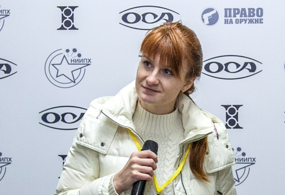 Mariia Butina, leader of a pro-gun organization, speaks during a press conference in Moscow in this Oct. 8, 2013 file photo. — AFP