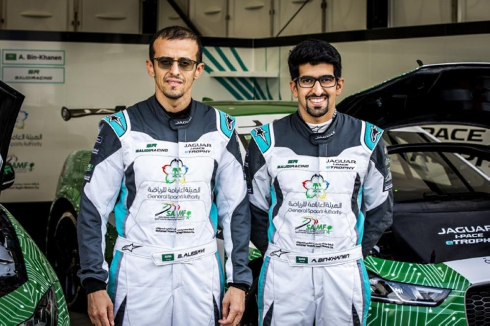 Local racing heroes Ahmed Bin Khanen and Bandar Alesayi of the Saudi Racing team ready for action. — Courtesy photo