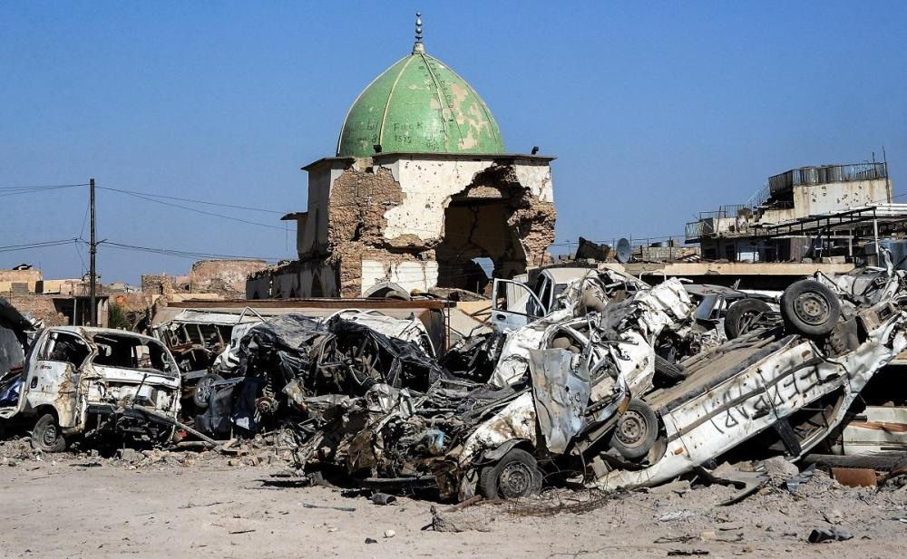 A view of the dome of Mosul's destroyed Al-Nuri Mosque.